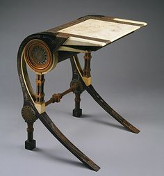 Carlo Bugatti (decorator and architect) Art Nouveau desk, You can see here a strong resemblance to Ancient Egyptian furniture. Egyptian Furniture, Antique Furniture, Furniture Styles, Furniture Design, Muebles Estilo Art Nouveau, Art Nouveau Furniture, Vase Design, Metropolitan Museum, Art Decor