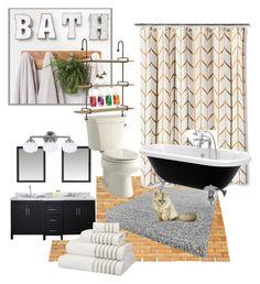 """bath time"" by joy-chiquita-godboldo ❤ liked on Polyvore featuring interior, interiors, interior design, home, home decor, interior decorating, Kohler, Sea Gull Lighting and John Lewis"