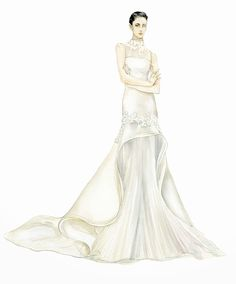 Fashion Illustrator Mengjie Di: Commission from Angel Sanchez Bridal Collection