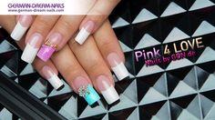 Pink 4 Love Overlay Nails by GDN.de - Nr. 250 #naildesign #nageltips #jolifin http://www.german-dream-nails.com/pink-4-love-overlay-nails-by-gdn-de-nr-250  Ein French-Naildesign in Pink, blue und white zum Nachmachen. Schicke Jolifin Overlays in silber und gold sind auffällige Eye Catcher, die Du super in deiner Nailart einarbeiten kannst. Mit einem transpartenen und klaren Jolifin Aufbau-Gel lassen sich die modischen Einleger leicht platzieren und einarbeiten.