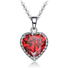Valentines Day Gift for Her Wife Love Womens Girls Red Heart Pendant Necklace #ValentinesGift