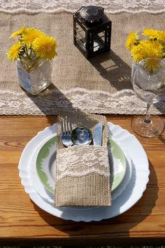 Burlap and lace table runner by Littlewhiteboutique on Etsy, $22.00