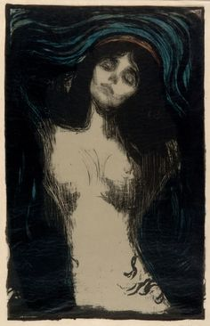 Edvard Munch, Madonna, 1895 (I'm not a massive fan of Mr Munch. And if ever an image lost its flavour by over-use, 'The Scream' is one, but something about this picture has haunted me since I first came across it).