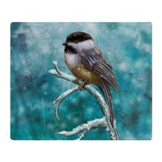 Chickadee Bird Throw Blanket on CafePress.com