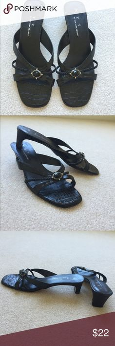 Black Strappy Sandals with Small Heel Black sandals/ black heels. Kitten heel measuring approximately 1.5 inches. Has small jewel detail. In excellent condition, only worn a couple of times. Minimal signs of wear- slight scratches on sole, but that isn't seen anyway when wearing. FEEL FREE TO MAKE AN OFFER. I'm happy to answer any questions you may have or provide more pictures upon request. New York Transit Shoes Sandals