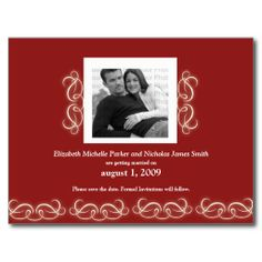 Formal Elegant Floral Save the Date Red and White Postcards