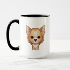 Long-Haired Beige and White Chihuahua Mug   chihuahua dogs, chihuahua tattoo outline, too faced melted chihuahua #chihuahuasantiago #chihuahuah #chihuahuapelolongo Chihuahua Tattoo, Chihuahua Quotes, Chihuahua Puppies, White Chihuahua, Long Haired Chihuahua, Animal Quotes, Funny Cute, Favorite Color, Dachshund
