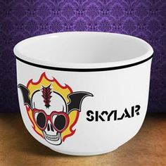 Ice Cream Bowl with a Flaming Skull wearing Primrose Glasses Teenage Gift