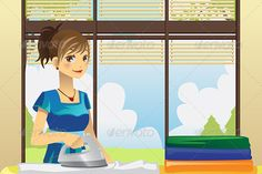 Housewife Ironing Clothes #GraphicRiver A vector illustration of a housewife ironing clothes at home. Vector illustration, zip archive contain eps 10 and high resolution jpeg. Created: 7November13 GraphicsFilesIncluded: VectorEPS Layered: No MinimumAdobeCSVersion: CS Tags: DomesticLife #adult #beautiful #busy #cartoon #chores #cleaning #clothes #clothing #drawing #female #folding #happiness #happy #home #homemaker #house #housekeeper #housekeeping #housewife #housework #illustration #indoor…