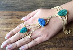 Blue and Green Druzy Hathfool Gold Handflower by FootSoles on Etsy