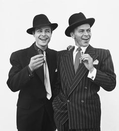 With Frank Sinatra on the set of Guys and Dolls. He's the kind of guy that when he dies, he's going up to heaven to give God a bad time for making him bald.