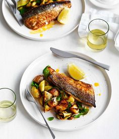 Australian Gourmet Traveller recipe for Harissa-grilled mackerel with potatoes, zucchini and mint