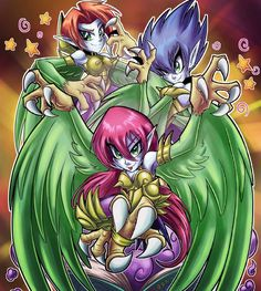 Toon Harpie Lady Sisters by Kraus-Illustration on DeviantArt Custom Yugioh Cards, Yugioh Monsters, Female Monster, Valentines Art, Classic Monsters, Dollar Tree Store, Digimon, Game Art, Cute Pictures
