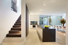 Kitchen   2 Cunningham Street, South Yarra Minimal Living, Polished Concrete, Concrete Floors, Minimalism, New Homes, Stairs, Flooring, Kitchens, Street