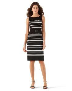 STRIPE KNIT SHEATH DRESS - White House   Black Market