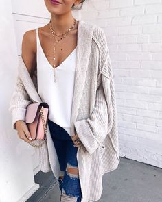 love this outfit for spring. ripped jeans, oversized cardigan, plain white tank