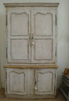 century French Antique `Deux Corps`, gotta love it! French Interior, French Decor, French Country Decorating, French Country Cottage, French Country Style, Antique French Furniture, Antique Armoire, White Painted Furniture, Shabby