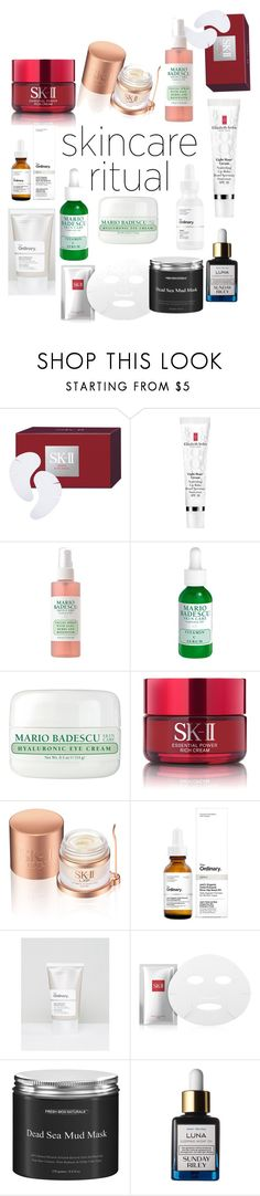 """S K I N C A R E"" by kendallfrancisco ❤ liked on Polyvore featuring beauty, SK-II, Elizabeth Arden, Mario Badescu Skin Care, The Ordinary, Sunday Riley and skincare"