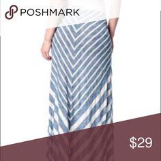 MOTHERHOOD MATERNITY Large MAXI SKIRT Blue CHEVRON Super Chic and Stylish! Skirts Maxi