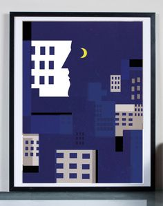 night in my City ...Illustration art giclée print by Tomek Wawer #alone #moon #poster