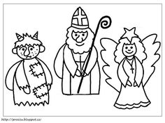 Mikulas, cert a andel - zapichy do kvetinace Mothers Day Crafts For Kids, Winter Crafts For Kids, Saint Nicholas, Kindergarten, Free Coloring Pages, Elementary Schools, Christmas Time, Diy And Crafts, Santa