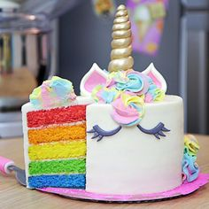 A rainbow cake is fun to look at and eat and a lot easier to make than you might think. Here's a step-by-step guide for how to make a rainbow birthday cake. Rainbow Unicorn Party, Rainbow Birthday, Unicorn Birthday Parties, Girl Birthday, Birthday Cake, Birthday Ideas, Bolo Tumblr, Unicorn Foods, Unicorn Cakes