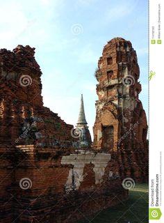 Photo about Three ancient brick buddhist temple wats ruins in Phra Nakhon Si Ayutthaya Thailand near Bangkok. Image of architecture, brick, three - 114192163 Phra Nakhon Si Ayutthaya, Ayutthaya Thailand, Buddhist Temple, Bangkok, Big Ben, Brick, Tower, Architecture, Building