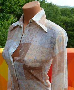 vintage 70s blouse disco PATCHWORK western sheer butterfly collar white brown shirt Small 60s pucci tucci women at SkippyHaha.com