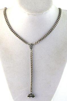 Vintage Antique Sterling Curb Chain Fleur de Lis Wax Seal Fob Necklace #LavalierNecklace