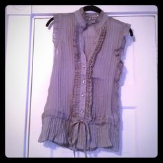 Forever 21 Gray Sheer Blouse Never worn, gray, sheer, v-neck, button blouse with tie front, to be worn over a tank top Forever 21 Tops Blouses