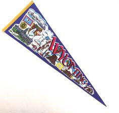 Wyoming Souvenir Pennant, Large Vintage Printed Felt Flag by planetalissa on Etsy