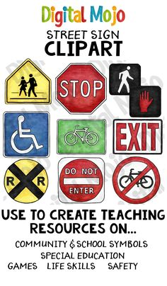 This realistic clip art set is made up of the street signs: bike sign, crosswalk sign, do not enter sign, do not walk sign, exit sign, handicap sign, no biking sign, railroad crossing sign, stop sign, walk sign.   Each sign comes in color and black and white.  This clipart is good to incorporate into lesson plans around, but not limited to: community and school symbol s, special education, games, life skills and safety.