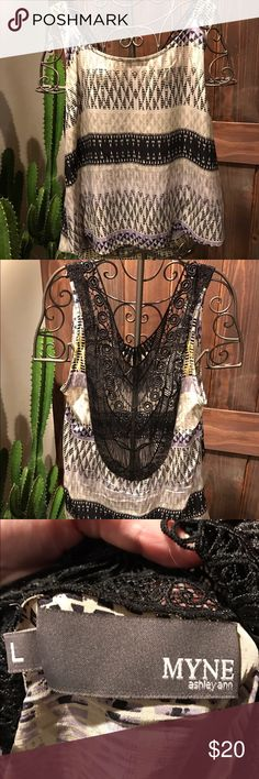 Anthropologie top Open back with lace Anthropologie Tops Blouses