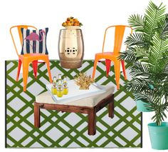 Patio decor, green rug, orange chairs, flamingo pillow, gold accents, palm trees