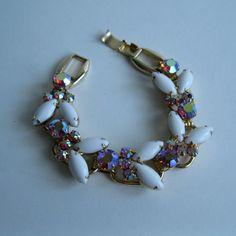 Vintage 1960s White Juliana Bracelet with milk glass cabochon stones and Aurora Borealis stones. Love
