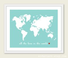 Navy blue map of the world travel map world map poster world map all the love in world map art print nursery wall art by aldariart 1800 gumiabroncs Choice Image