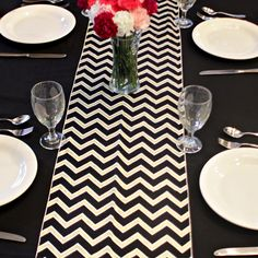 Chevron Black Gold Silver Table Runner
