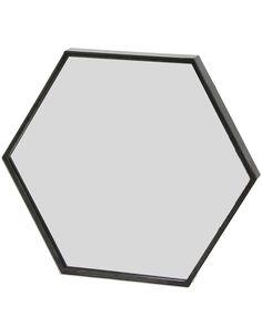 MirrorDeco — Zen - Hexagonal Wall Mirror (Black Metal Frame, W: Mirror With Hooks, Black Wall Mirror, Metal Mirror, Zen, Bathroom Inspiration, Decoration, Frames On Wall, Black Metal, Industrial Style