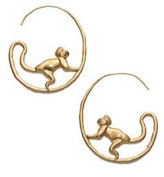 cute little monkey hoop earrings