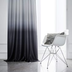 Yakamok Ombre Blackout Curtains White and Black Room Darkening Gradient Panel Curtains Thermal Insulated Rod Pocket Window Drapes for Living Room/Bedroom (Black, 2 Panels, Inch)