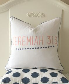 Perfect for a baby's room! Handmade Scripture Pillow Cover  Navy and Coral  by pickfair, $45.00