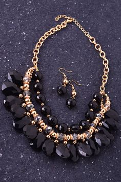Black Beaded Statement Necklace & Earrings Set #fashionjewelry #necklaces #earrings #ubeufashion #boutique #oldsac