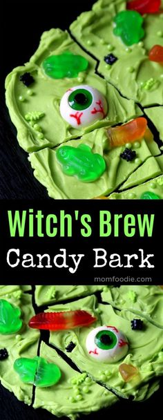 Witch's Brew Candy Bark – Halloween Treat. This Halloween Bark features eyeball… Witch's Brew Candy Bark – Halloween Treat. This Halloween Bark features eyeballs, frogs, worms and bugs all simmering in the witch's cauldron! Halloween 2018, Halloween Bark, Halloween Eyeballs, Easy Halloween, Halloween Crafts, Candy Eyeballs, Halloween Recipe, Halloween Stuff, Halloween Desserts