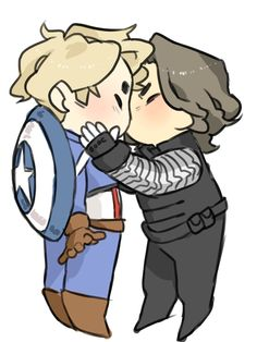 Captain America being kissed by the Winter Soldier chibi fanart by mabapo