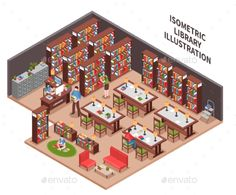 Library Isometric Illustration by macrovector Library with woman employee at workplace with computer bookcases filing cabinet visitors reading area isometric vector illustratio Minecraft Designs, Minecraft Ideas, Urban Design Concept, Book Presentation, Minecraft Architecture, Isometric Design, Library Design, Pixel Art, Vector Free