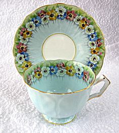 Aynsley Cup And Saucer Robins Egg Blue Floral Band Petal Molded