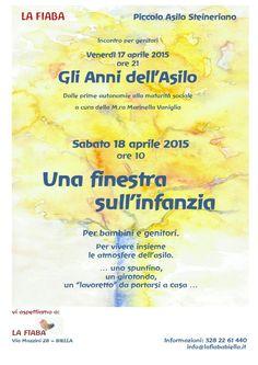 Conferenza sulla pedagogia Steineriana, ven 17 aprile e Porte Aperte al nostro Asilo sabato 18 aprile ore 10