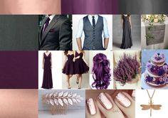 wedding colour scheme, ideas, plum, purple, rose gold, charcoal, purple, grey, hair, cake, nails, accessories