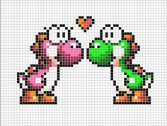 Yoshi in Love Pixel Art Hama Beads Design, Diy Perler Beads, Perler Bead Art, Yoshi, Super Mario, Cross Stitch Designs, Cross Stitch Patterns, Cross Stitching, Cross Stitch Embroidery