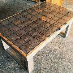 Finally finished up this coffee table yesterday. End cut grain grey stain and black resin fills fit nicely together! by nak_on_wood Reclaimed Wood Furniture, Repurposed Furniture, Pallet Furniture, Furniture Projects, Wood Projects, Woodworking Projects, Woodworking Plans, Repurposed Wood, Outdoor Furniture